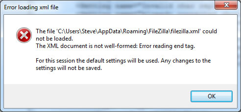 FileZilla - The XML document is not well-formed